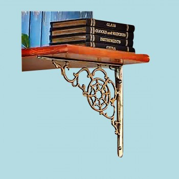 <PRE>Pair Shelf Bracket Decorative Bright Solid Brass 10 Inch x8 Inch</PRE>zoom2