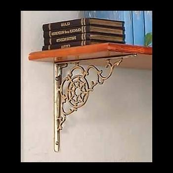<PRE>Pair Shelf Bracket Decorative Bright Solid Brass 10 Inch x8 Inch</PRE>zoom3
