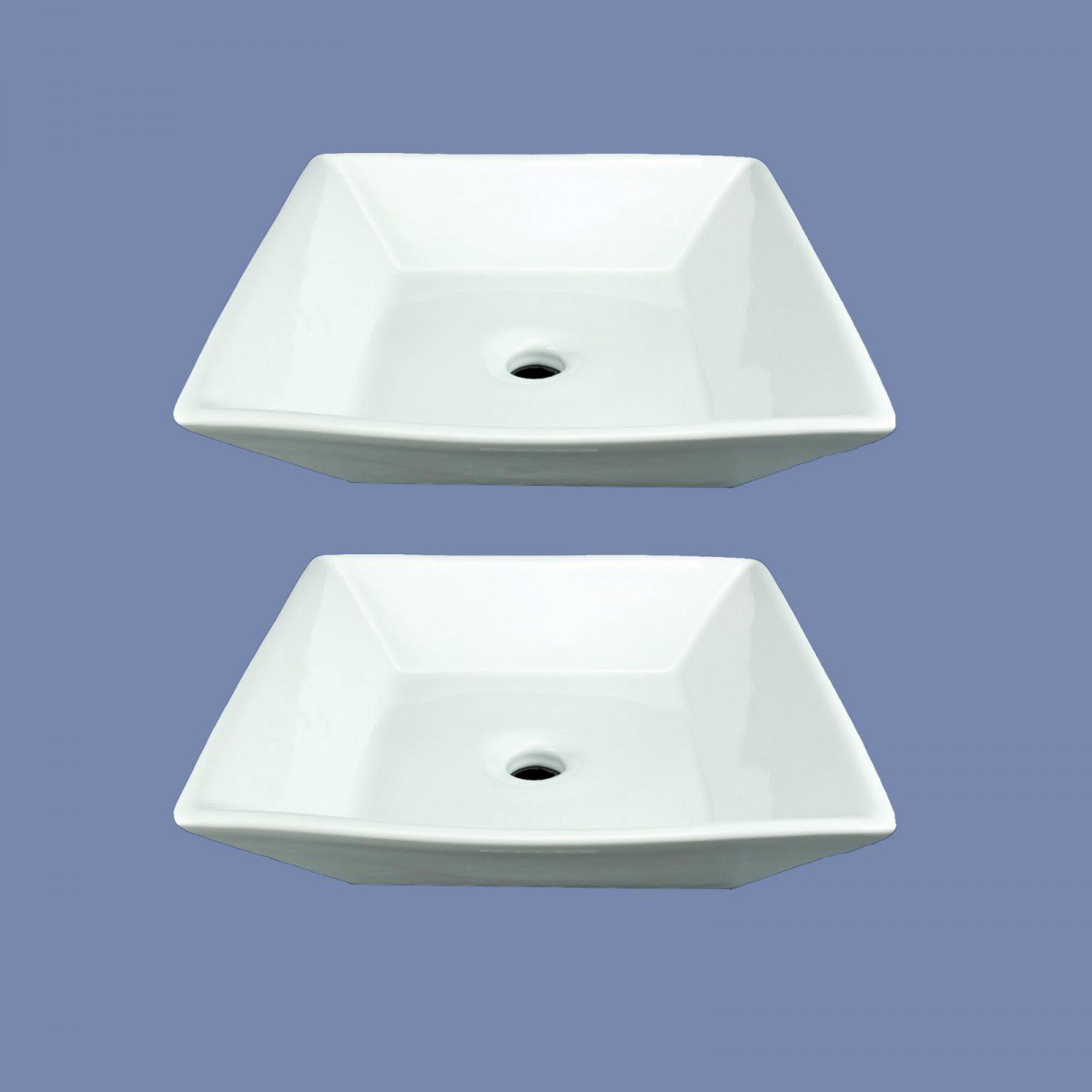 Bathroom Vessel Sinks Square White No Overflow Set of 2
