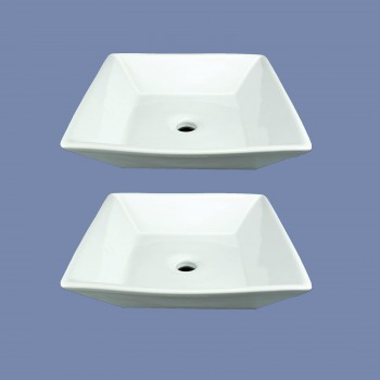 Set of 2 Square Countertop Vessel Sink in White Renovators Supply bathroom vessel sinks Countertop vessel sink Art Basin Square Bathroom Sink