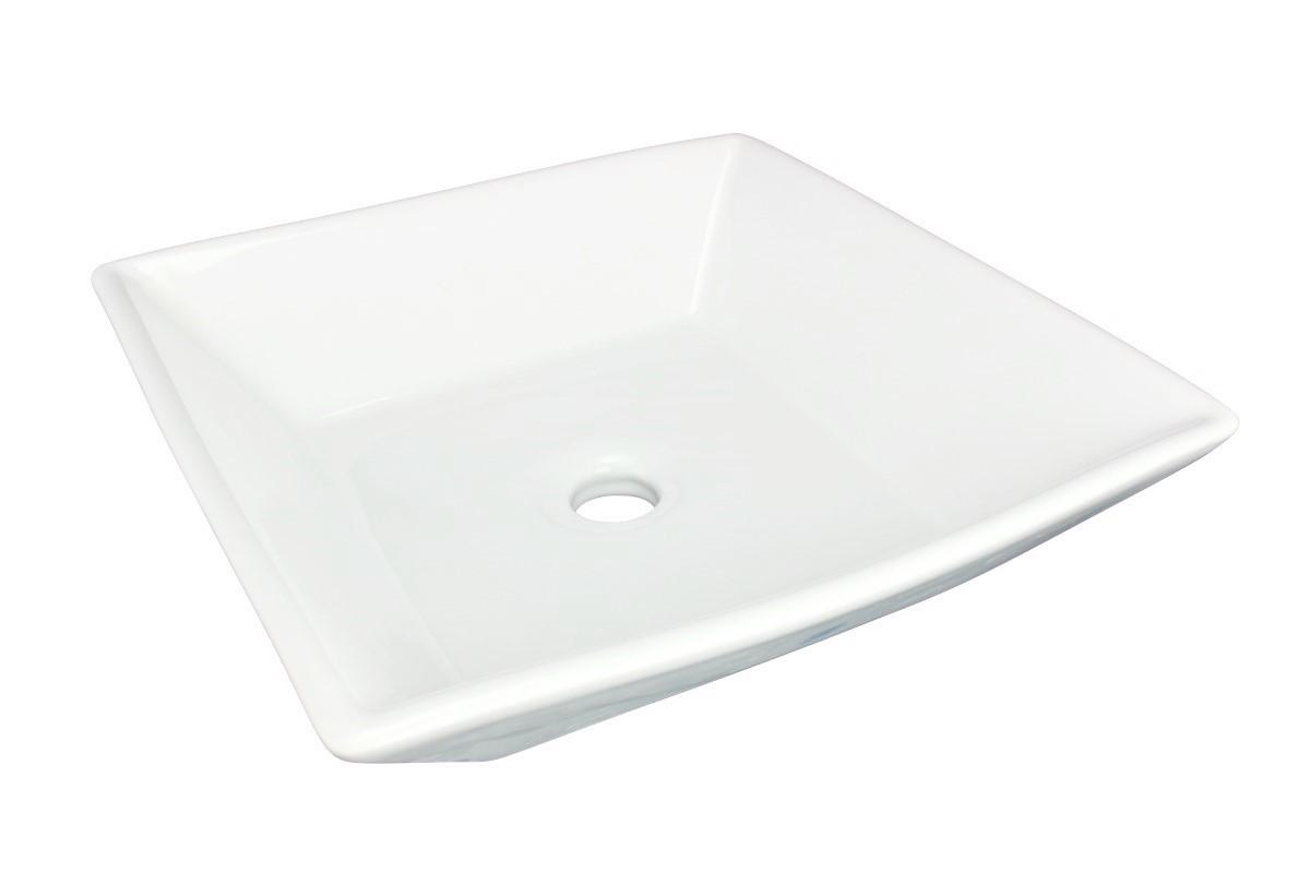 Set of 2 Square Countertop Vessel Sink in White Renovators Supply bathroom vessel sinks Countertop vessel sink Art Basin Square Bathroom Sink