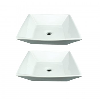 Square No Overflow Bathroom Vessel Sink, Porcelain Ceramic White Art Set of 223229grid
