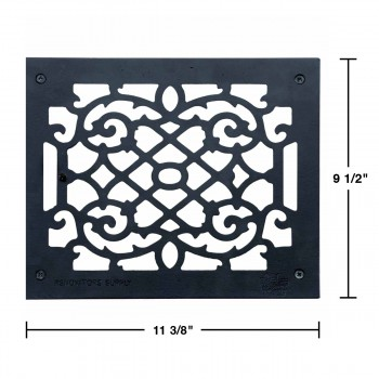spec-<PRE>Heat Register Floor Vent Grate Cast Aluminum  9.5&quot; x 11 3/8 </PRE>