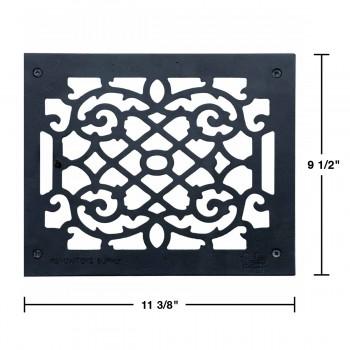 """spec-<PRE>Heat Register Floor Vent Grate Cast Aluminum  9.5"""" x 11 3/8 </PRE>"""