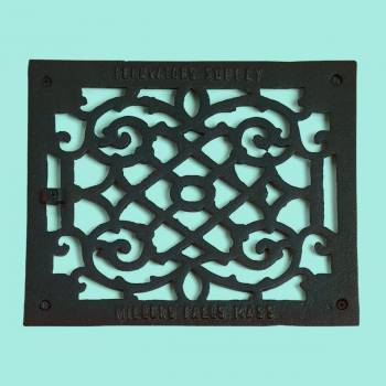Heat Register - Grille with  Logo Cast Aluminum  9 1/2 x 11 3/8 Overall by the Renovator's Supply