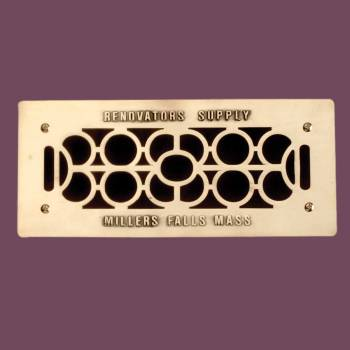 Heat Register - Grille with  Logo Cast Brass Polished & Lacquered  4 3/4 x 11 Overall by the Renovator's Supply