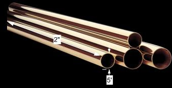 spec-<PRE>Bar Rail Polished Solid Brass Bar Rail Polished Brass Tubing 2 dia. x </PRE>