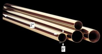 spec-<PRE>Vintage Solid Brass Polished Bar Rail Tubing Connectors 2 in. dia. x 8 ft. long</PRE>