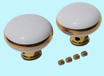 <PRE>Door Knobs White/Gold Porcelain Knob Pair </PRE>zoom2