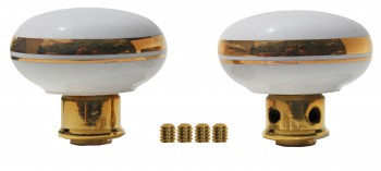 <PRE>Door Knobs White/Gold Porcelain Knob Pair </PRE>zoom4