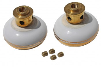 <PRE>Door Knobs White/Gold Porcelain Knob Pair </PRE>zoom5