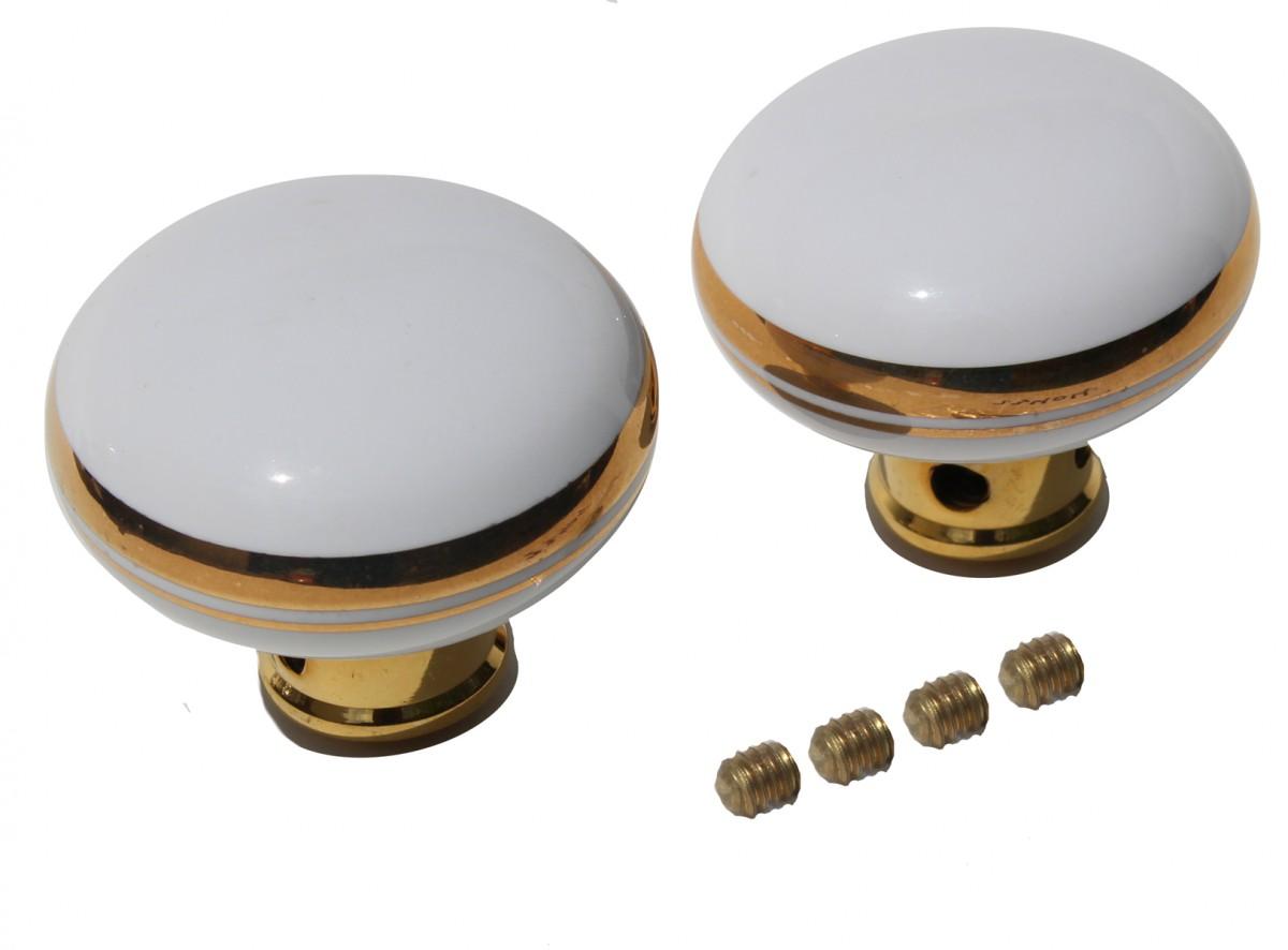 ... U003cPREu003eDoor Knobs White/Gold Porcelain Knob Pair ...