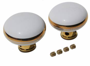 <PRE>Door Knobs White/Gold Porcelain Knob Pair </PRE>zoom1