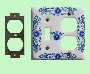 Vintage Switch Plate White Delft Porcelain ToggleOutlet Switch Plate Wall Plates Switch Plates