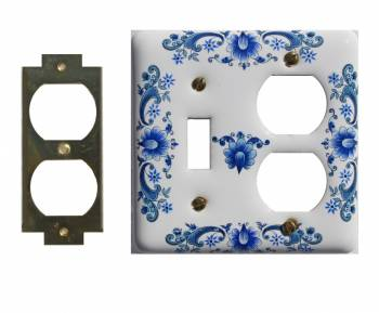 Vintage Switch Plate White Delft Porcelain Toggle/Outlet 23419grid