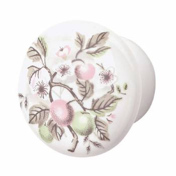 Cabinet Knob Porcelain Apple 1 1/2