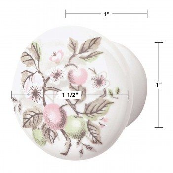 "spec-<PRE>Cabinet Knob Porcelain Apple 1 1/2"" Dia </PRE>"