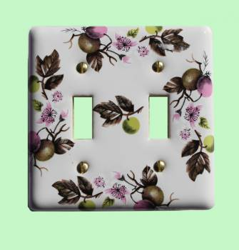 <PRE>Switch Plate White Porcelain Apple Tree 2 Toggle Switch </PRE>zoom2