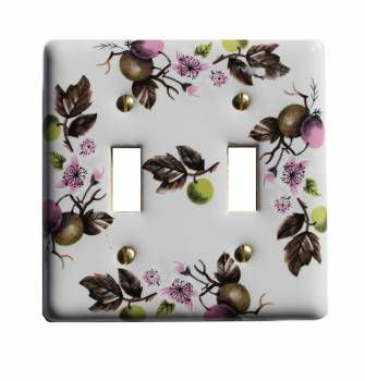 Double Toggle Switch Plate Porcelain Apple Tree