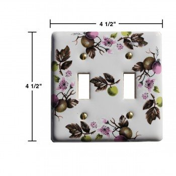 spec-<PRE>Switch Plate White Porcelain Apple Tree 2 Toggle Switch </PRE>
