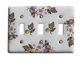 Porcelain Apple Tree Wall Plate Triple Toggle