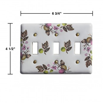 spec-<PRE>Switch Plate White Porcelain Apple Tree 3 Toggle Switch </PRE>