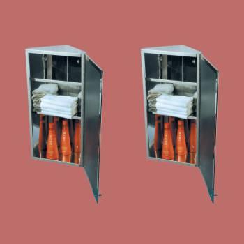 <PRE>2 Corner Medicine Cabinet Polished Stainless Steel Mirror Door Set of 2</PRE>zoom2