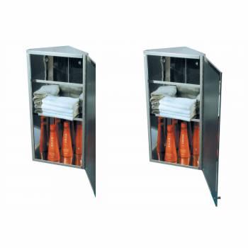 <PRE>2 Corner Medicine Cabinet Polished Stainless Steel Mirror Door Set of 2</PRE>zoom1