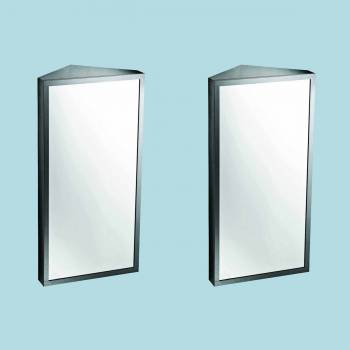 <PRE>Corner Medicine Cabinet Satin Brushed Stainless Steel Set of 2</PRE>zoom2