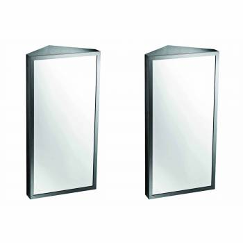Corner Medicine Cabinet Satin Brushed Stainless Steel Set of 2 Corner Brushed Stainless Steel
