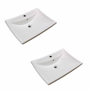 Bathroom Sink White China Deluxe Square Wall Mount Set of 2