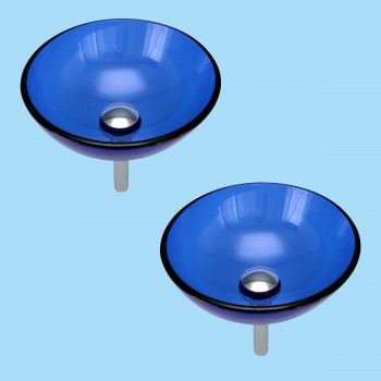 <PRE>Blue Tempered Glass Vessel with Drain, Mounting Ring, Mini Sink Mount Set of 2</PRE>zoom2