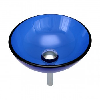 Blue Tempered Glass Vessel with Drain, Mounting Ring, Mini Sink Mount Set of 2 bathroom vessel sinks Countertop vessel sink minimalist aesthetic basin unique