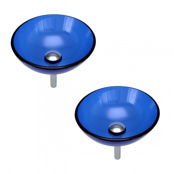 <PRE>Blue Tempered Glass Vessel with Drain, Mounting Ring, Mini Sink Mount Set of 2</PRE>zoom1