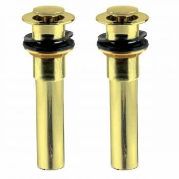 2 Brass Sink Drain Push Button PopUp No Overflow PVD