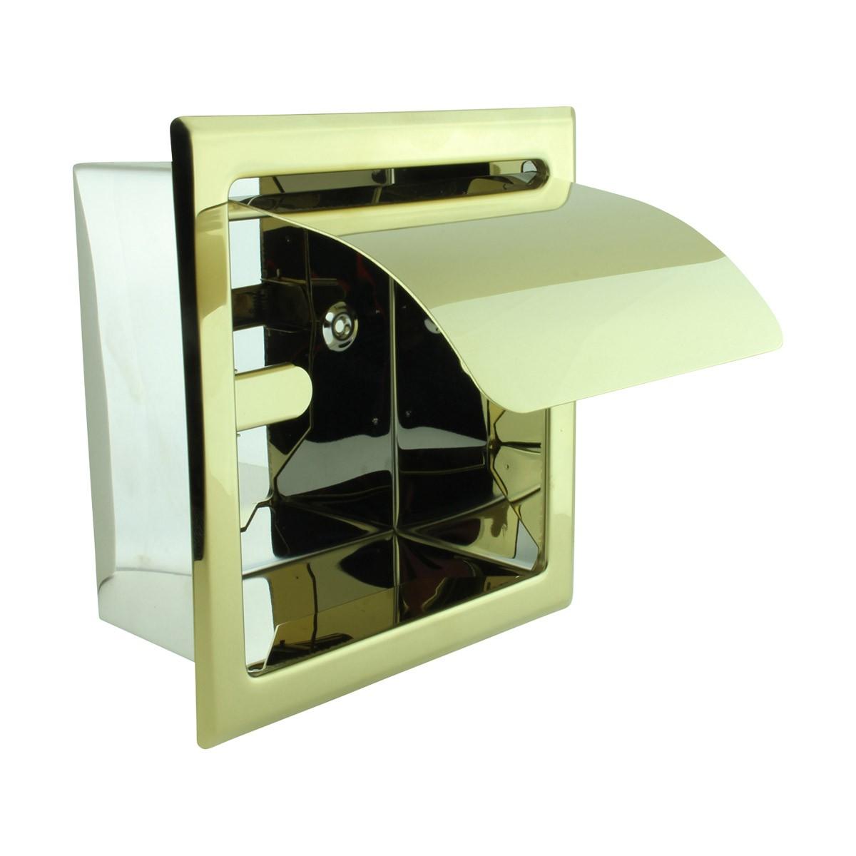 Recessed Toilet Paper Tissue Holder Gold Stainless Steel Pack of 2 toilet paper holder brass toilet tissue
