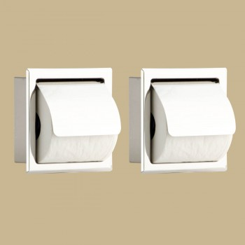 2 Recessed Stainless Stainless Steel Toilet Tissue Holder With Lid TP Holder TP Holders Toilet Paper Holder