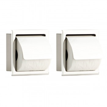 2 Recessed Stainless Stainless Steel Toilet Tissue Holder With Lid 2 Pcs