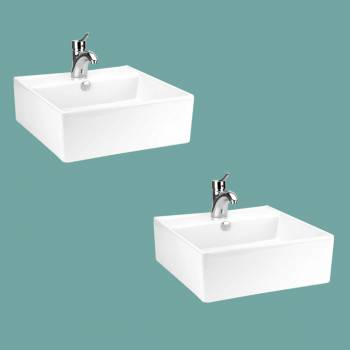 spec-<PRE>Bathroom Vessel Sink White China Bostonian Square Set of 2</PRE>