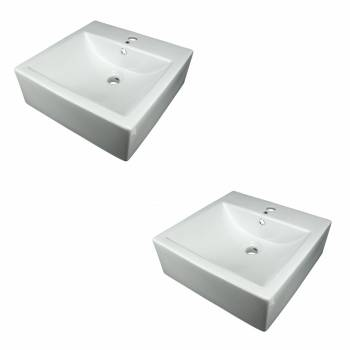 <PRE>Bathroom Vessel Sink White China Bostonian Square Set of 2</PRE>