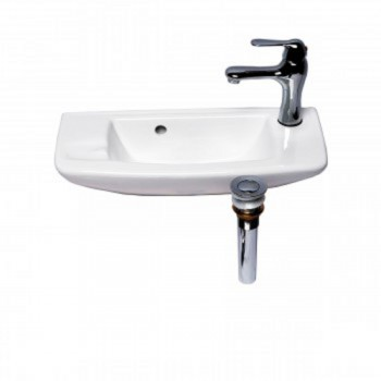 White Wall Mount Bathroom Vessel Sink With Chrome Faucet and PopUp Drain