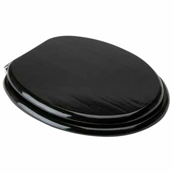 IMPERFECT Black Toilet Seat Chrome Fittings Elongated