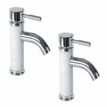 2 Bathroom White Marble Faucet Chrome Single Hole 1 Handle