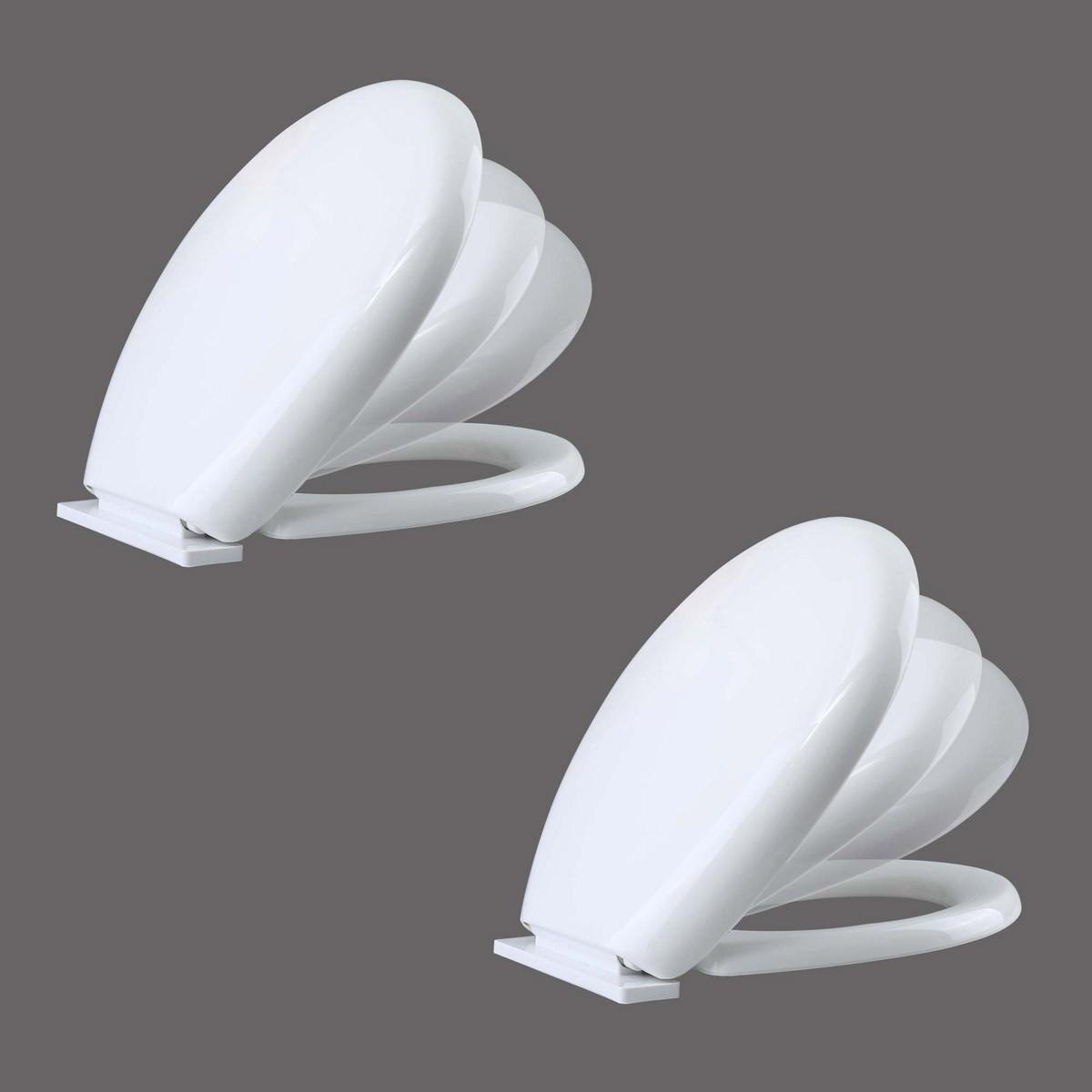 non slam toilet seat. Toilet Seat Slow EZ Close No Slam Plastic Round White Set of 2