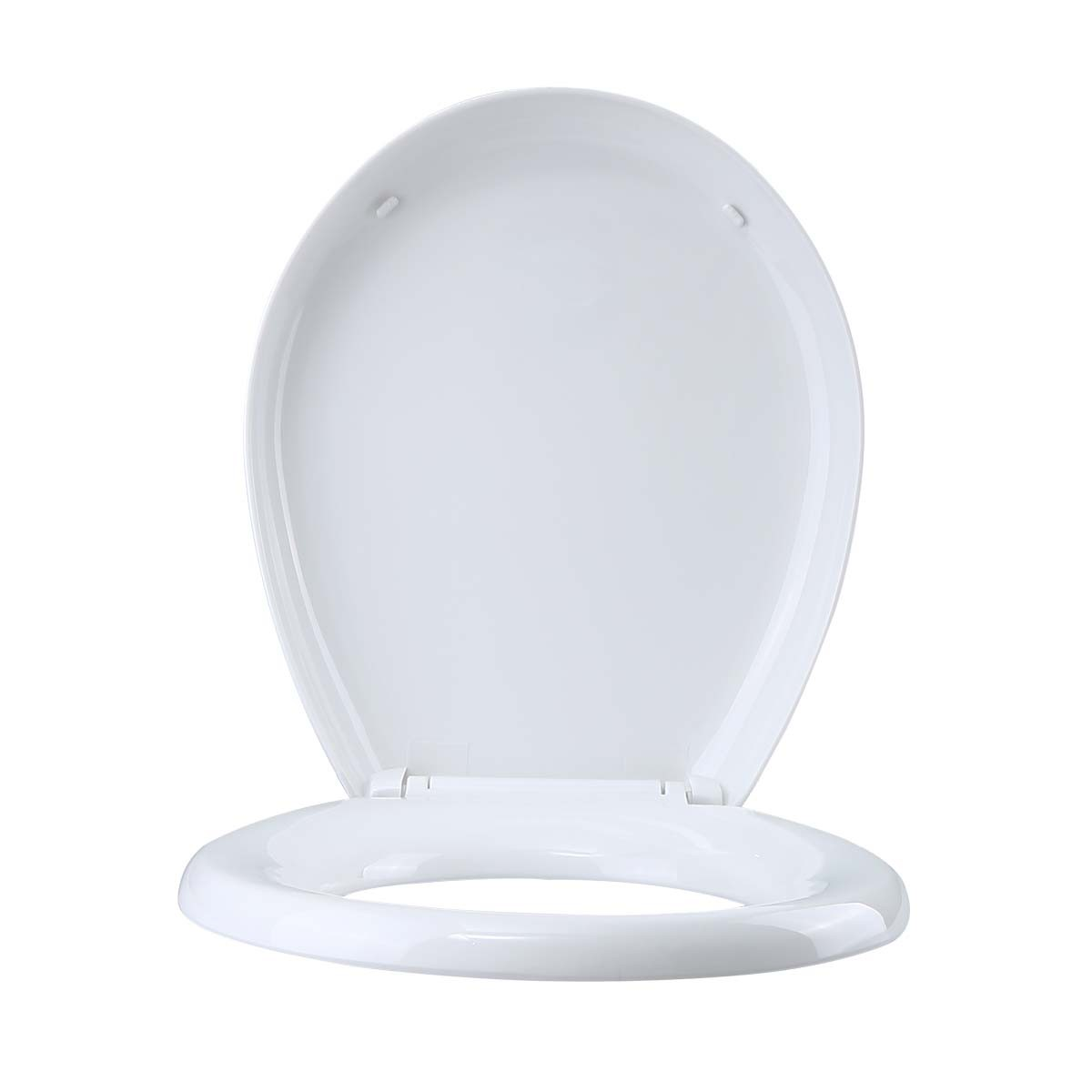 Toilet Seat Slow EZ Close No Slam Plastic Round White Set of 2 novelty decorative replacement loo commode lavatory custom unusual luxury quality standard color design pretty