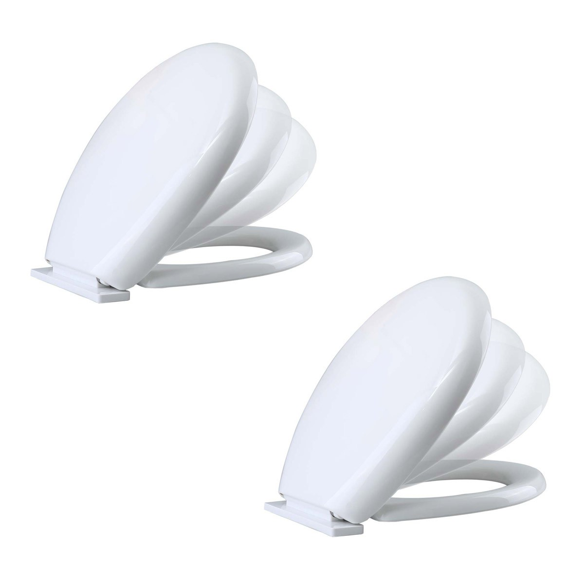 Toilet Seat Slow Ez Close No Slam Plastic Round White Set Of 2