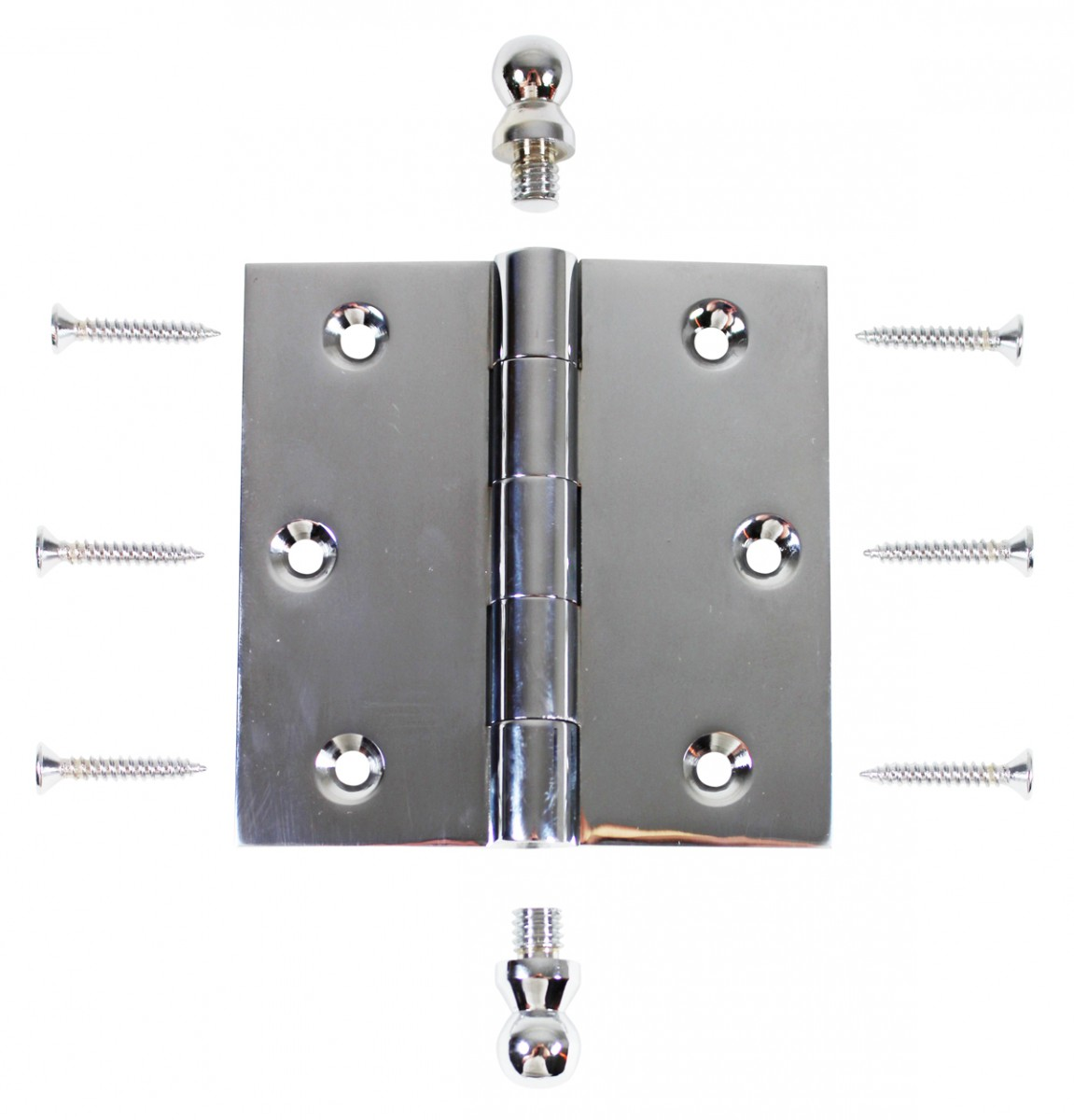 Chrome Solid Brass Cabinet Hinge Ball Tip 3 12 Pack of 2 Door Hinges Door Hinge Solid Brass Hinge