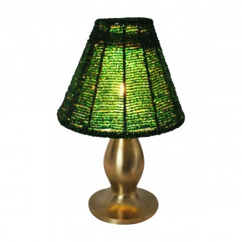 <PRE>Candle Lamps Red/Green Brass Beaded Shade Pair 9&quot;H </PRE>