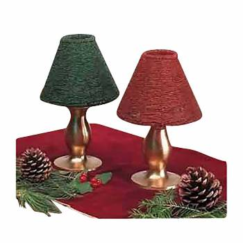 Candle Lamps Red/Green Brass Beaded Shade Pair 9
