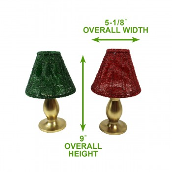 spec-<PRE>Candle Lamps Red/Green Brass Beaded Shade Pair 9&quot;H </PRE>